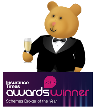 Stanley bear stood next to insurance times awards winner